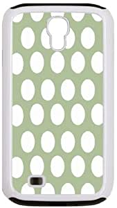 Rikki KnightTM Dull Green Polka Dots White Tough-It Case Cover for Galaxy S4 4 & 4s (Double Layer case with Silicone Protection)
