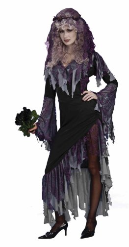 Women's Zombie Bride Costume, Black/Gray, One Size