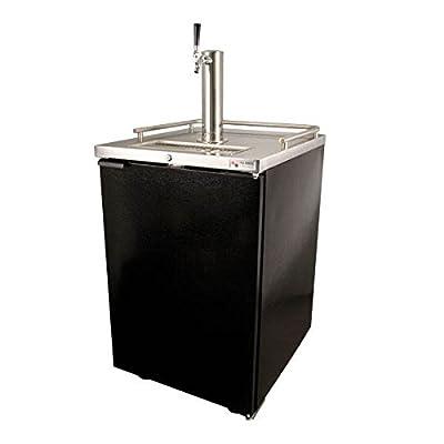 Draft Beer Kegerator Dispenser in Black with Glass Rinser