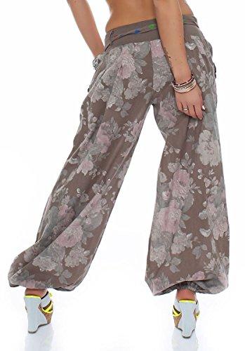 malito Bombacho diseño Floral Boyfriend Aladin Harem Pantalón Sudadera Baggy Yoga 3418A Mujer Talla Única fango