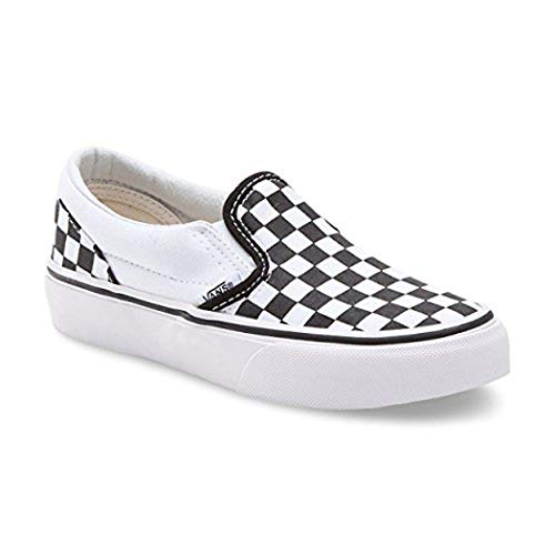 (Vans Kids Classic Slip-On (Checkerboard) Black/True White VN000ZBU5GU Size)
