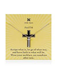 Annis Munn Faith Necklace - 925 Sterling Silver Cross Pendant Adjustable Necklace Jewelry Spiritual Belief and Christ's Love Gift for Girls and Women