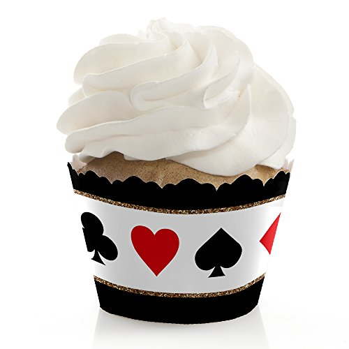 Big Dot of Happiness Las Vegas - Casino Party Decorations - Party Cupcake Wrappers - Set of 12 -