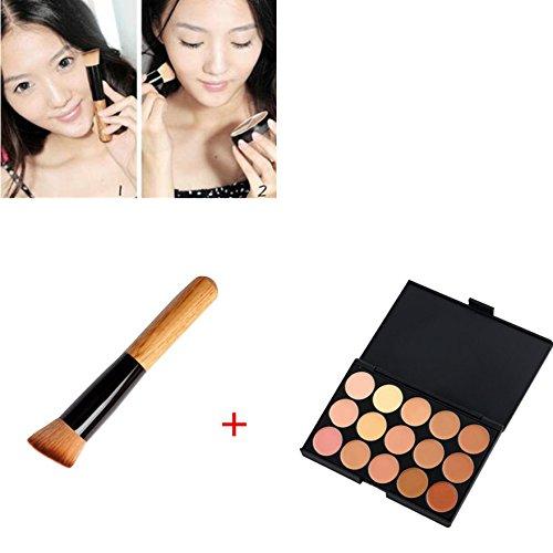 Price comparison product image 1 set 15 Colors Concealer Palette Camouflage Contour Face Cream Makeup Concealer Palette+Multi-Function Blush Powder Brush RP - 1 set