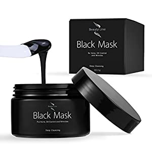 Facial Charcoal Black Mask (100 mg) Applicator Included - Purifying Peel-off Effect – Removes Blackheads and Dead Skin, Cleanse and Minimizes Pores by BeautyLine