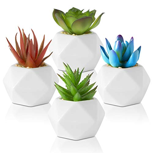 Leafy Corner Succulents Plants Artificial – Pack of 4 Mini Plants in Ceramic Pots – Succulent Plants for Bedroom Decor, Bathroom Plants & Office Decorative Plants