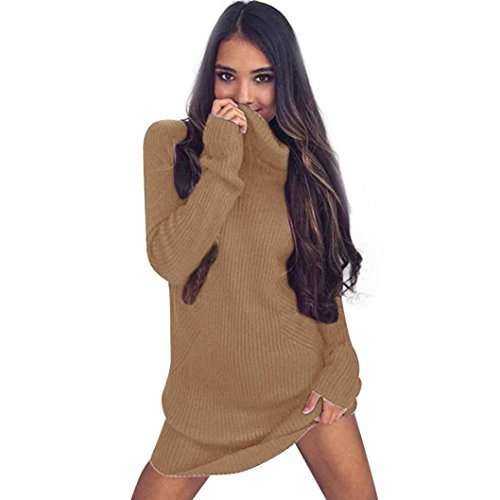 Lucoo Luxury Fashion comfortable Womens Casual Long Sleeve Jumper Turtleneck Sweaters Coat Blouse (XL, Khaki)