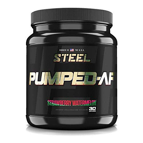 Steel Supplements Pumped-AF Pre Workout Powder with N.O.7, 6g L-Citrulline & Kre-Alkalyn | Non Stimulant, Caffeine Free, Increase Blood Flow & Hydration | 30 Servings (Strawberry Watermelon)