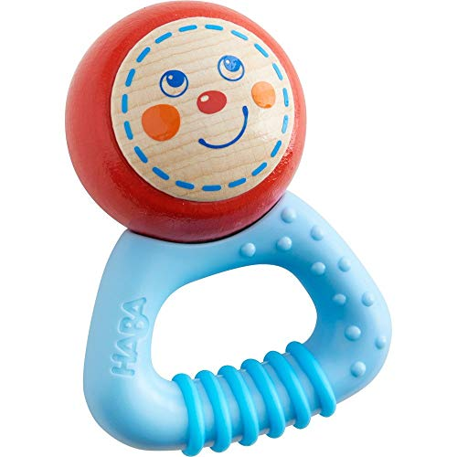 HABA Musical Character Leo - Rattle, Clutching Toy and Teether with Friendly Wooden Face and Plastic Teething Handle (Made in Germany)