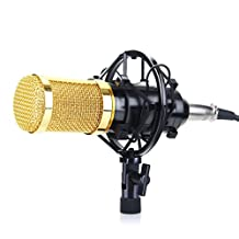 Excelvan BM-800 Condenser Microphone Sound Recording Dynamic + Mic Shock Mount, Ideal for Radio Broadcasting, Voice-Over and Recording Studio (Black)