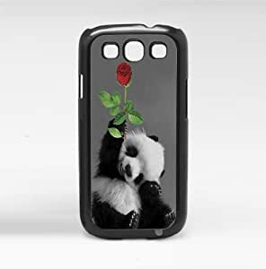 Adorable Smiling Baby Panda with Rose Hard Snap on Phone Case (Galaxy s3 III)
