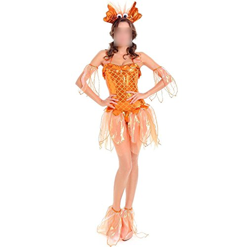 world-palm underwear Ladies Role Playing Halloween Costume Mermaid Cosplay Sexy Little Goldfish Costume,Yellow,One Size ()