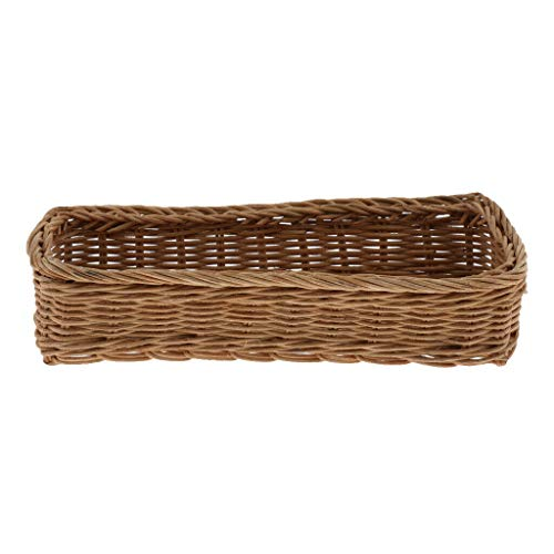 MOPOLIS Natural Rattan Woven Storage Basket Kitchen Tableware Container Cosmetic Box (Color - Brown)