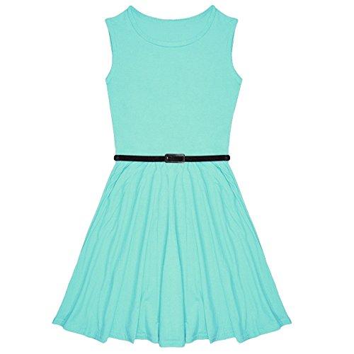 0e2ed663ba Miss Vanilla New Girls Plain Skater Dress Kids Party Dresses with Free Belt  Age 7 8 9 10 11 12 13 Year (7-8 Years, Mint)