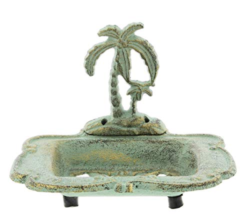 Palm Tropical Soap Dish - The Bridge Collection Cast Iron Palm Tree Soap Dish