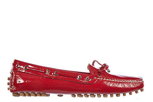 Car Shoes Mocassins Femme en Cuir Naplak Rouge