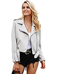 Women's Faux Leather Suede Zip up Belted Lapel Moto Biker Jacket