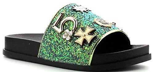 Cape Robbin Moira-25 Women Slides Flip Flop Glitter Metal Pendant Ornament Sandal Pink (10, Green)