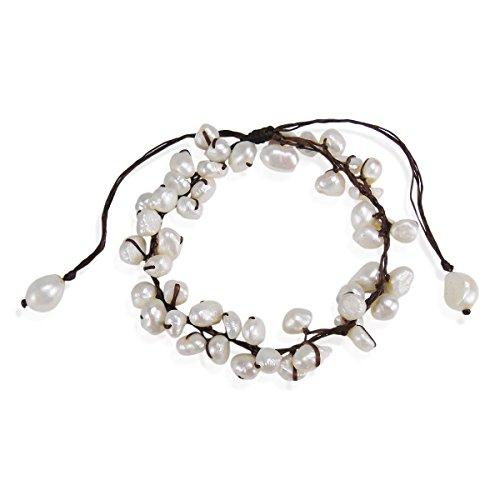 AeraVida Summer Breeze Beaded White Cultured Freshwater Pearl Pull Anklet