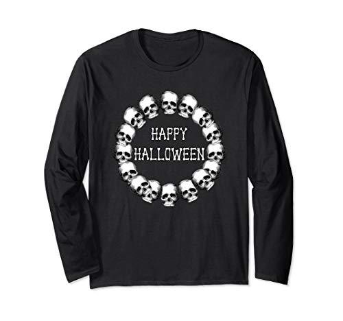 Creepy Happy Halloween Font (Creepy Cool Skull Wreath Happy Halloween     Long Sleeve)