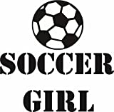 Design with Vinyl RAD 1219 1 ''Soccer Girl Ball Player Sports Kids Boy Bedroom'' Vinyl Wall Decal, 12'' x 12'', Black