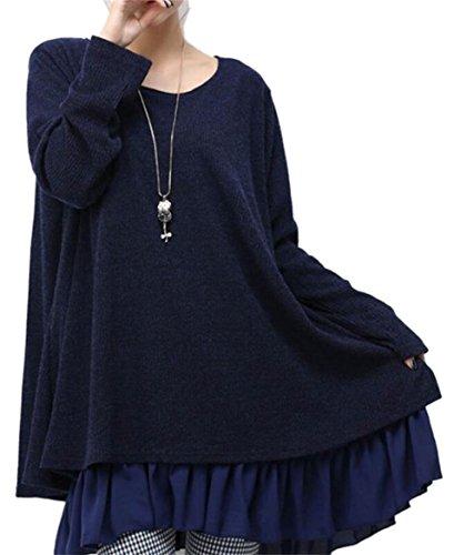 Jaycargogo Femmes, Plus Coutures Dentelle Taille Manches Longues D'une Ligne Mince T-shirt Robe Classique Bleu Foncé