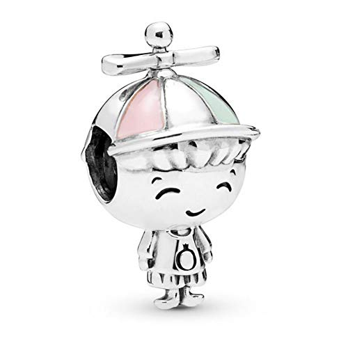 Romántico Amor Propeller Hat Boy Charm 925 Sterling Silver Kid Beads fit Pandora Bracelets