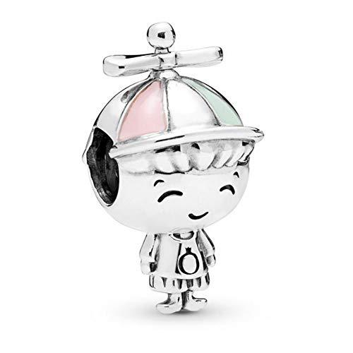 Romántico Amor Propeller Hat Boy Charm 925 Sterling Silver Kid Beads fit Pandora Bracelets (Silver Hat Sterling)