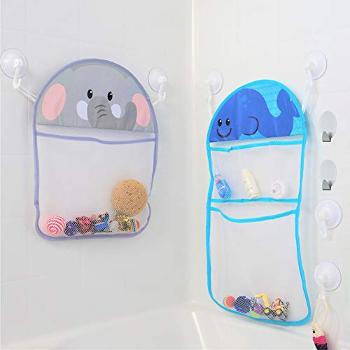 - Youngever 2 Pack Bath Toy Organizer with 3M Sticky Hooks and Suction Hooks, Large 14x20 & Medium 12x16, Bath Net for Bathtub Toys and Bathroom Storage, Elephant and Whale Design