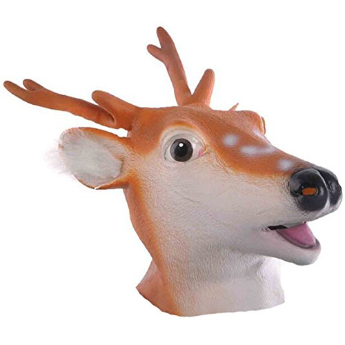 [Queenshiny Latex Animal Head Mask Halloween Cosplay Party Costume Fancy Dress (One size, Deer)] (Animal Halloween Costumes Men)
