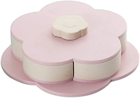 Creative Flower Type Rotating Candy Box Snack Storage Tray Family Snacks