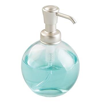 mDesign Dosificador de jabón redondo y recargable con 355 ml de capacidad – Elegante dispensador de