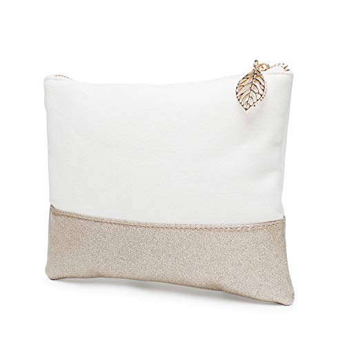 Glitter Reinforced Cotton Canvas Purse Cosmteic Bag