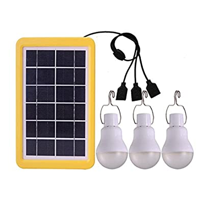 Aolvo 3 Pack 110Lm Portable Solar Light Bulb, USB Rechargeable Solar Powered Led Lights, Light Sensor Control Lantern Tent Light For Indoor Outdoor Hiking Reading Camping Fishing Emergency