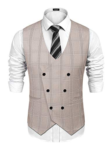COOFANDY Mens Slim Fit Double Breasted Check Waistcoat Vintage Gentleman British Suit Vest,Khaki,Small