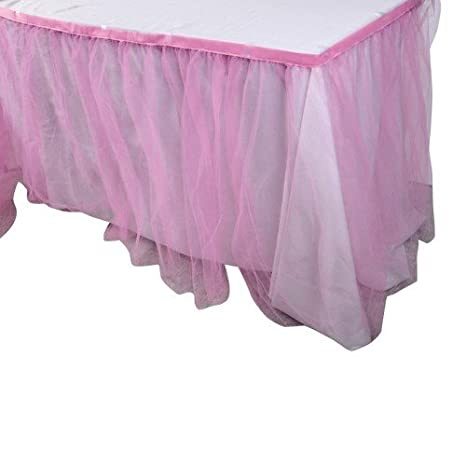 Amazon.com: giftexpress Rosa tul falda de mesa/Tutu Falda de ...