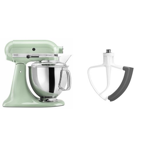KitchenAid KSM150PSPT Artisan Series 5-Qt. Stand Mixer with Pouring Shield - Pistachio and KitchenAid KFE5T Flex Edge Beater for Tilt-Head Stand Mixers Bundle KitchnAid KitchenAide KitchenAd Standmixer