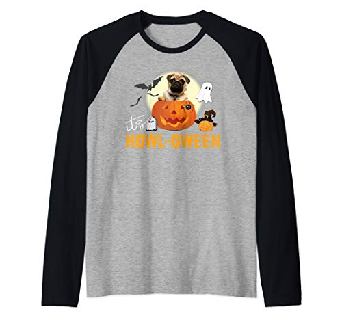 Cute Pug Halloween Dog Pun Happy Howloween Pumpkin Raglan Baseball