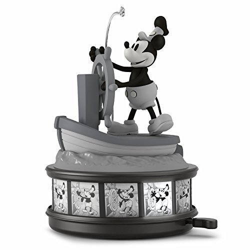 Box Music Mouse Mickey - Hallmark Keepsake Christmas Ornament 2018 Year Dated, Disney Mickey Mouse Steamboat Willie 90th Anniversary With Music, Light and Motion