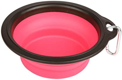 ペットボウル 折りたたみ式ペットボウル飲料用噴水ウォーターボウルフィーダー外出ペット用ウォーターディスペンサー吊り下げ式ウォーターフィーダーポータブルペット用品 (色 : Pink, サイズ さいず : 10CM*6CM)