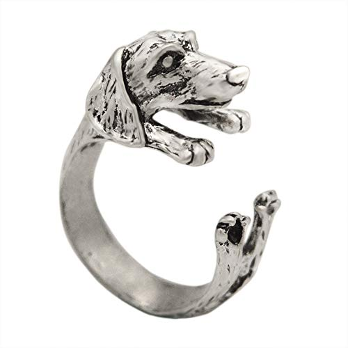 Chengxun Boho Chic Vintage Silver Plated Tone Puppy Dog Animal Ring for Women Men Jewelry