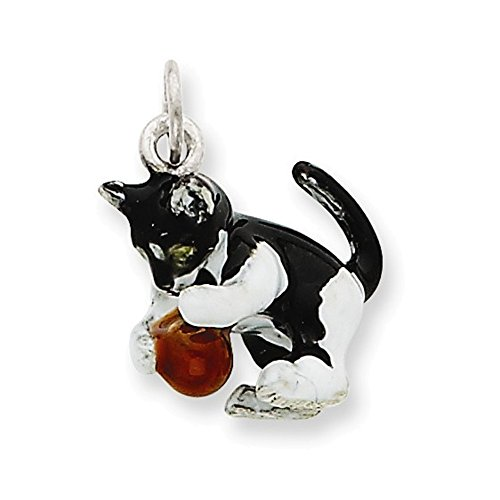 Jewelry Adviser Charms Silver Enamel Cat Playing with Red Ball Charm ()