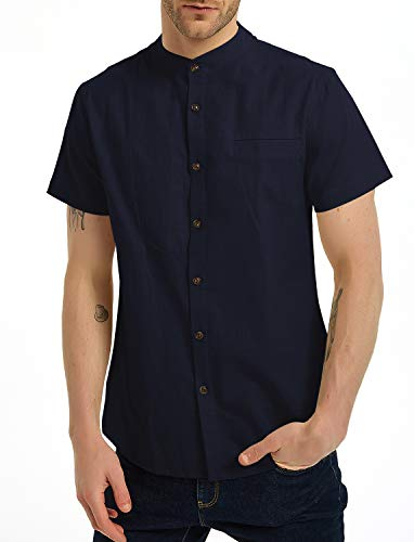 Aimeilgot Linen Short Sleeve Banded Collar Slim fit Shirts for Men Navy Blue-XL