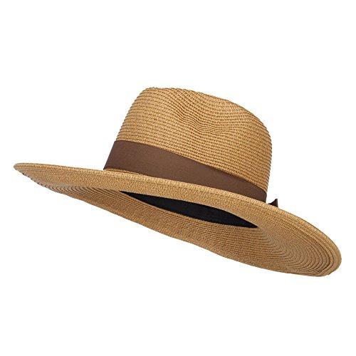 3cfa487ea Jeanne Simmons UPF 50+ Fedora Crown Wide Brim Hat - Tan Tweed OSFM
