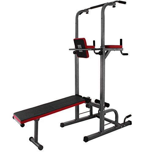 LOVSHARE Height Adjustable 770 LBS 7.3 FT Power Tower with Dip Station Pull up Tower Standing Pull up Bar Strength Training Fitness Gym Sports Equipment (XB-363)