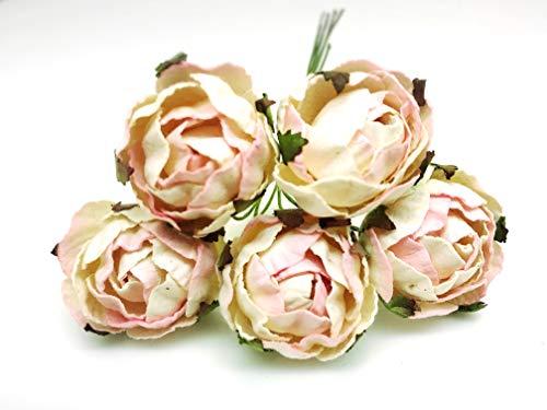 Tyga_Thai Brand 10 pcs. Cream Pink Peony Ranunculus Mulberry Paper Flower Craft Handmade Wedding 30 mm. Scrapbook for So Many Card & Craft Projects RAM3-4#321(Mulberry-PAPAER-Peony-Ranunculus)