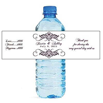 """100 Elegant White Wedding Anniversary Engagement Party Water Bottle Labels 8""""x2"""": Toys & Games"""