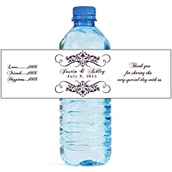 "100 Elegant White Wedding Anniversary Engagement Party Water Bottle Labels 8""x2"""