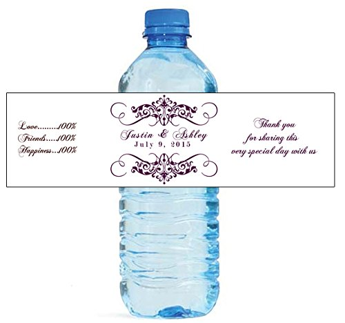 Label Personalized Dress Wedding - 100 Elegant White Wedding Anniversary Engagement Party Water Bottle Labels 8