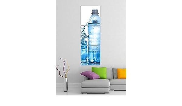 Acrílico cristal imágenes 3 piezas 50 x 150 cm Agua Mineral Agua Botella de cristal azul Vertical Acrílico de impresión de acrílico imágenes Cristal 14?7068 ...